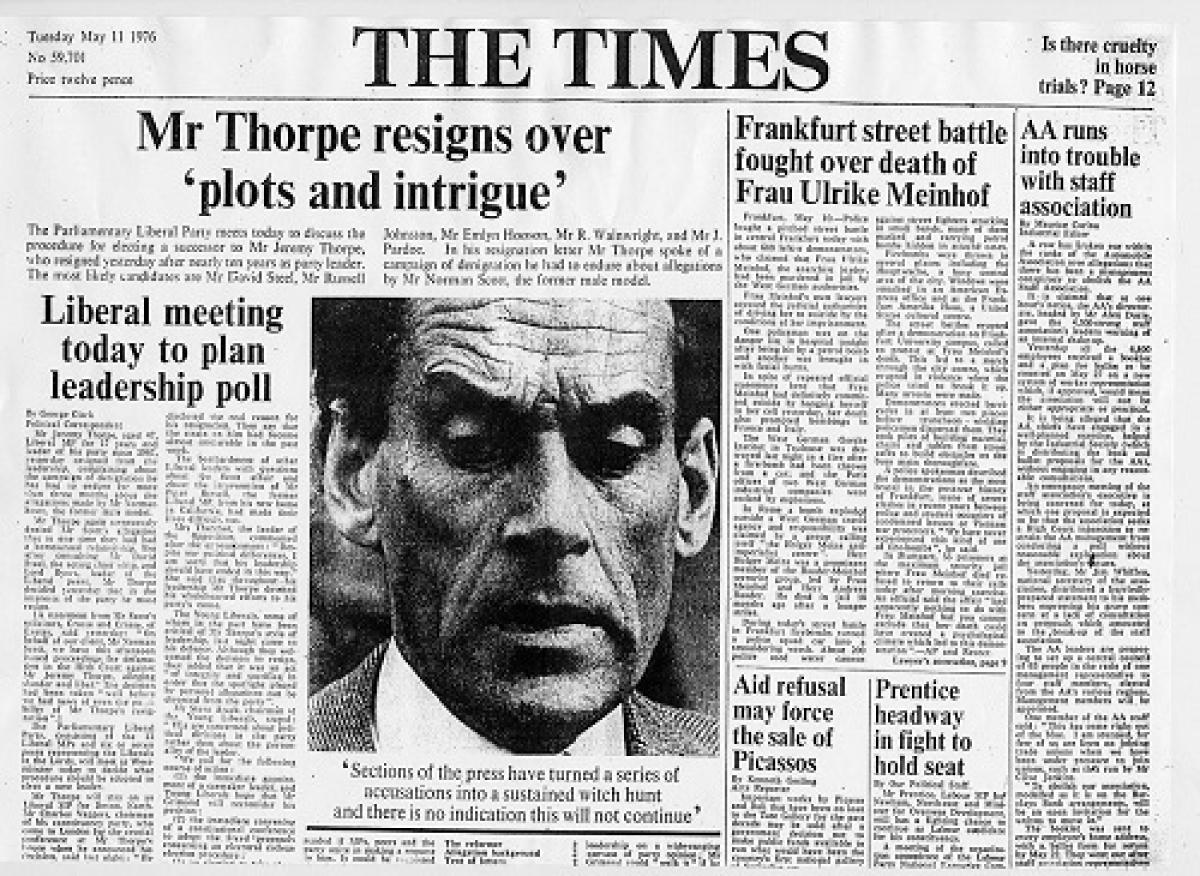 Renúncia de Thorpe na manchete do The Times
