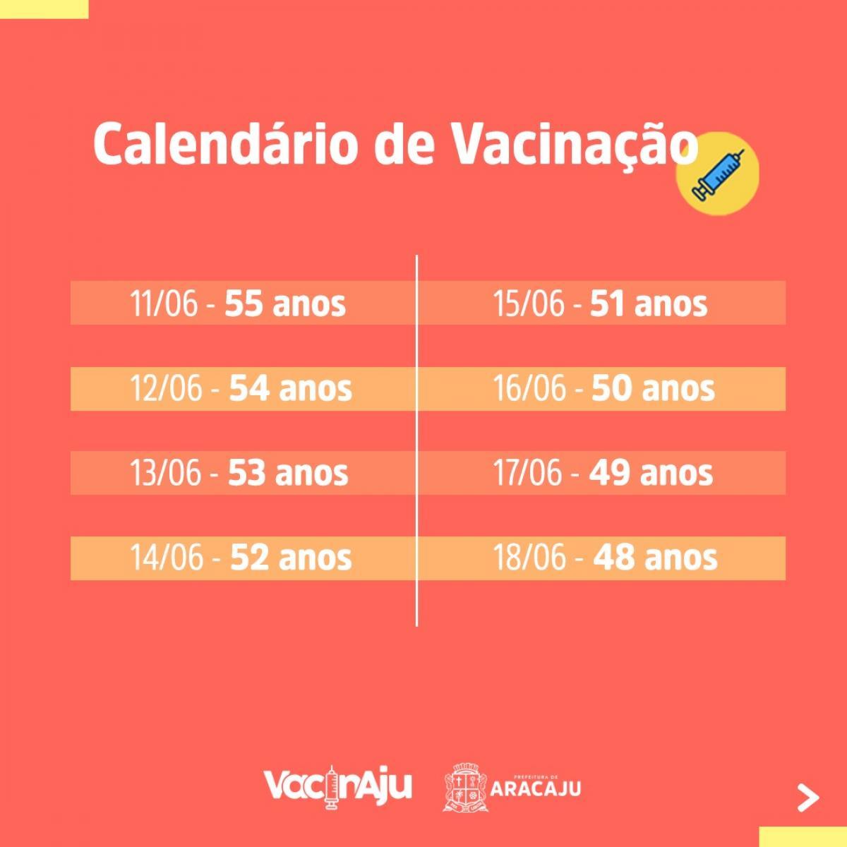 Calendário de Vacinação. Foto: Divulgação/SMS